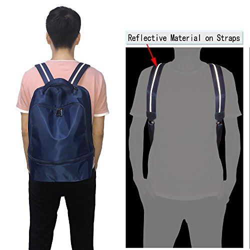 Reflective Functional Sport Bag 3M Fashion School Backpack Blue Gym Straps UTO Nylon Hiking vRqwBxxOt