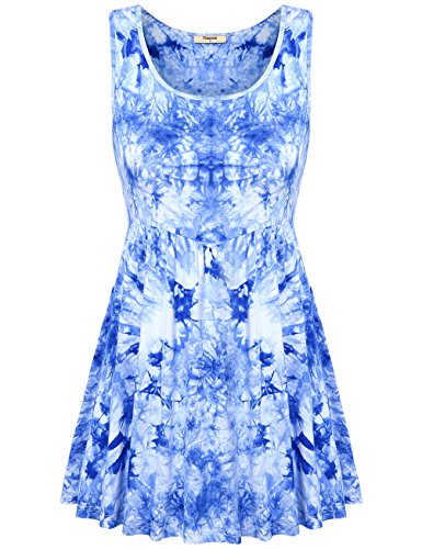 Tunic Length Tank Tops,Timeson Women's Casual Aline Dress Tie Dye Floral Empire Waist Sundress Royal Blue Large