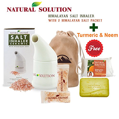 Natural Solution Pink Himalayan Salt Inhaler with 2 Pink Himalayan Crystal Salt Bags + Free Soap Bar