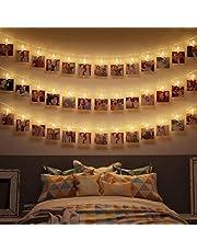 B.K.Licht łańcuch świetlny LED do wyświetlania zdjęć, długość 5 m, 40 diod LED i 40 klipsów do zdjęć