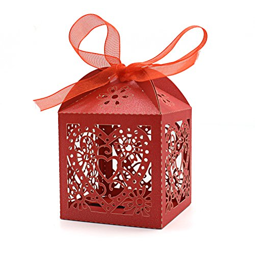 (KEIVA 100 Pack Love Heart Laser Cut Wedding Party Favor Box Candy Bag Chocolate Gift Boxes Bridal Birthday Shower Bomboniere with Ribbons (Red,)