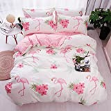 ED-Lumos Pink Flamingo Design Duvet Cover Set with 2 Pillowcases for Kids Bedding 4-Piece Double Size(No Comforter Included)
