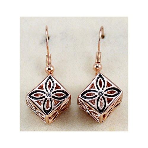 Kingwhisht Genuine OL hollow four leaf petal earring ear jewelry direct,Rose gold by Kingwhisht
