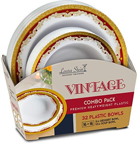 Laura Stein Party Bowls Vintage series Set of 32 Elegant Disposable Dinnerware Combo Set White Bowls With 2 Tone Border/Rim Burgundy & Gold Includes 16-5oz Dessert Bowls + 16 12oz Soup Bowls
