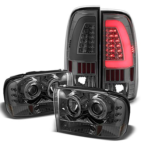 For 1999-2004 Ford F250/F350/F450/F550 Smoked Halo Projector Headlights + Light-Bar LED Tail Lights 2000 2001 2002 2003
