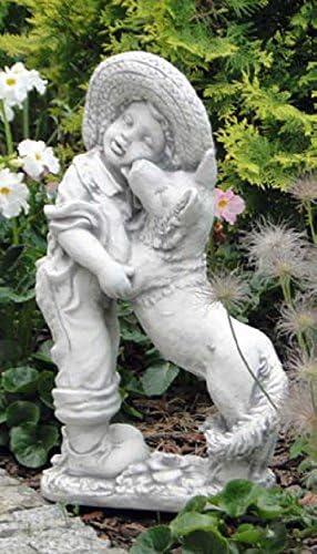 Niño con Perro (s101112) Niños Jardín figuras Estatua de piedra 63 cm: Amazon.es: Jardín