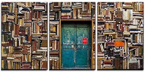 wall26 – 3 Piece Canvas Wall Art – Antique Building with a Wall of Books – Modern Home Decor Stretched and Framed Ready to Hang – 24 x36 x3 Panels
