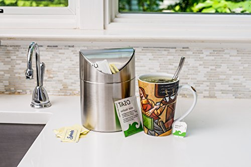 Estilo Mini Countertop Trash Can Brushed Stainless Steel