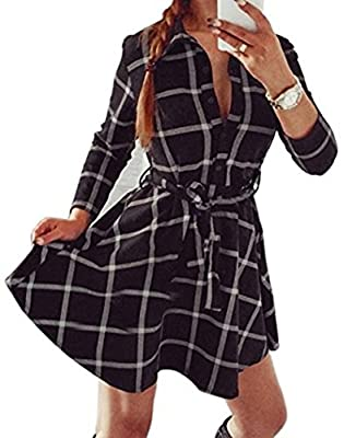 Lujiumaoyi Women's Long Sleeve Mid-Long Style Plaid Tattern Tunic Tops Casual Shirt Dress