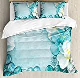 Aqua Duvet Cover Set Queen Size by Lunarable, Image of Sea Salt Orchids and Vivid Droplets Closeup Photo Alternative Healthcare, Decorative 3 Piece Bedding Set with 2 Pillow Shams, Turquoise White
