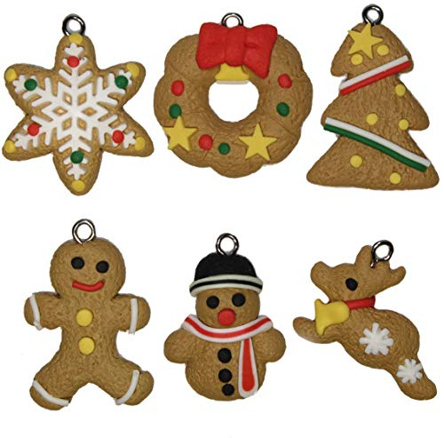 Lucore Christmas Cookie Clay Pendant Charms, 6 pc DIY Decorations for Necklace Bracelet Jewelry Crafts & Holiday Accents ()