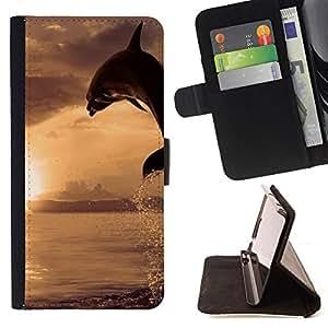 KingStore / Leather Etui en cuir / Sony Xperia Z3 D6603 / Dolpin Wave