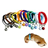 DEESEE(TM) 12Pcs Newborn Adjustable Puppy ID Collar Band With Bell Whelping Breeders (S)