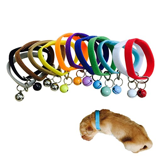 Hpapadks Fluffy Material Pet Puppy Collar with Bell,Newborn Adjustable Puppy Id Collar Band with Bell Whelping Breeders