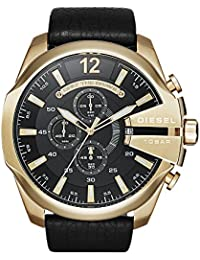 Mens DZ4344 Mega Chief Gold Black Leather Watch