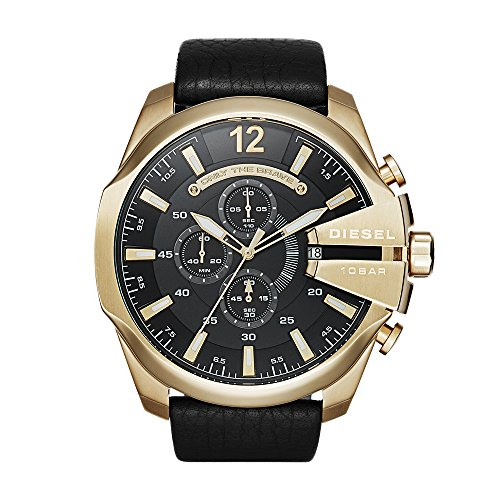 Chronograph Diesel Watch (Diesel Men's Mega Chief Quartz Stainless Steel and Leather Chronograph Watch, Color: Gold-Tone, Black (Model: DZ4344))