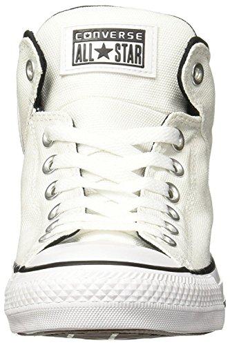 Converse Mens Chuck Taylor All Star Street Hi - Sneaker In Pelle Burattata Nero / Grigio Freddo / Bianco