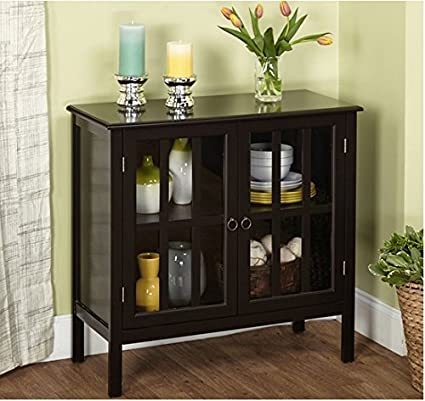 Amazon Cumberland Double Glass Door Cabinet Black Kitchen