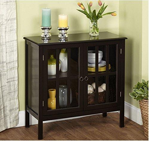 Amazon.com: Cumberland Double Glass Door Cabinet (Black): Kitchen U0026 Dining Part 44
