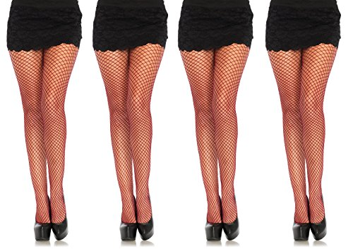 Lycra Fishnet Tights Pantyhose - Burgundy - One Size, 4-Pair