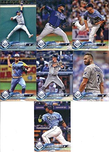 2018 Topps Complete (Series 1, 2, Update) Tampa Bay Rays Team Set of 29 Cards: Adeiny Hechavarria(#164), Chris Archer(#191), Evan Longoria(#223), Corey Dickerson(#227), Kevin Kiermaier(#297), Jake Odorizzi(#324), Alex Colome(#332), Mallex Smith(#365), Jacob Faria(#426), Tampa Bay Rays(#468), Wilson Ramos(#476), Logan Morrison(#477), Brad Miller(#478), Blake Snell(#489), Denard Span(#553), C.J. Cron(#571), Jose de Leon(#646), plus more