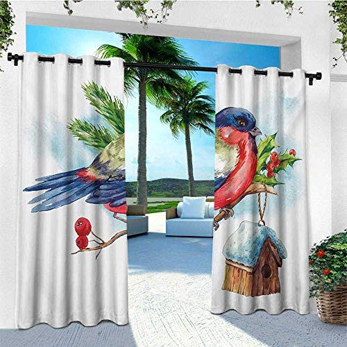 - leinuoyi Rowan, Outdoor Patio Curtains, Merry Christmas Composition with Cute Bullfinch Holly Pine Cone Bird House in Winter, Outdoor Curtain Panels for Patio Waterproof W84 x L108 Inch Multicolor