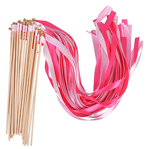 30 Pcs Wishprom Ribbon Wands Bells Fairy Wands Wedding Streamers Stick Party Silk Ribbon Bells Wedding Party Activities (Pink) -