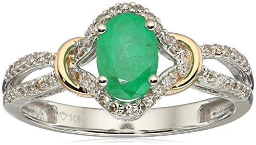 10k Two-tone Gold Emerald and TDW Diamond Ring, Size 9