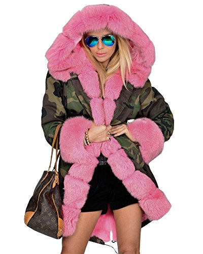 Roiii-Pink-Faux-Fur-Military-Camouflage-Women-Hooded-Outdoor-Jacket-Overcoat