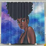 SARA NELL Shower Curtain Afro Africa Sexy African Women Blue Art Bath Curtain Waterproof Polyester Fabric Bathroom Accessories Set With Hooks-72 X 72 Inches