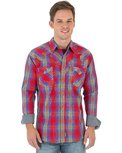 Wrangler Men's Shirt (Red/Blue) - 6