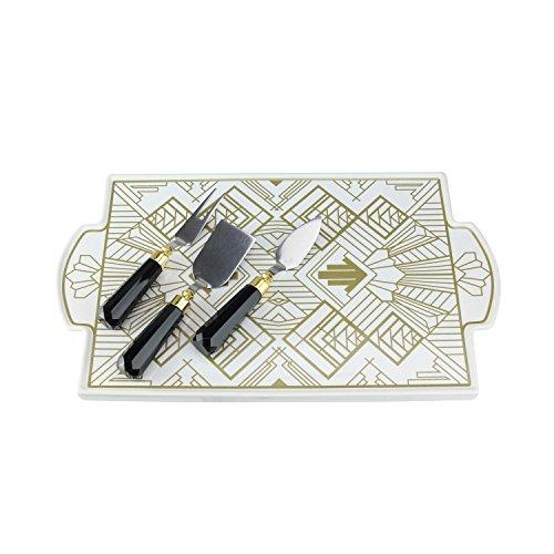 OKSLO Platter ceramic cheese knives art -