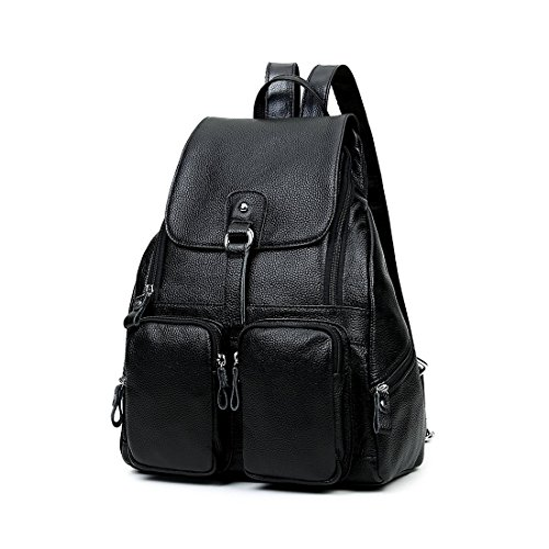 fdff4c0a9f36 FXTXYMX Backpack Purse Genuine Leather Retro Casual Traveling Daypacks for  Teen Girls and Womens (Black