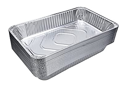 "Full Size Deep Steam Table Pans, Disposable Aluminum Chafing and Catering Pans (21"" x 13"" x 3"")"