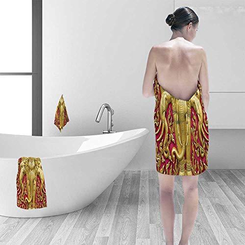 Premium 100% Cotton Bath Towel Elephant Carved Gold Paint on Door Thai Temple Spirituality Statue Classic Image Magenta Soft Cotton Durable by Printsonne