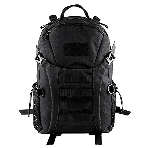 HUKOER 35L/45L Military Tactical Backpack -Tactical Assault Molle Rucksacks Waterproof Expandable Hunting Backpack Outdoor Daypack for Hiking Camping Trekking Hunting Bag (Black-35L)