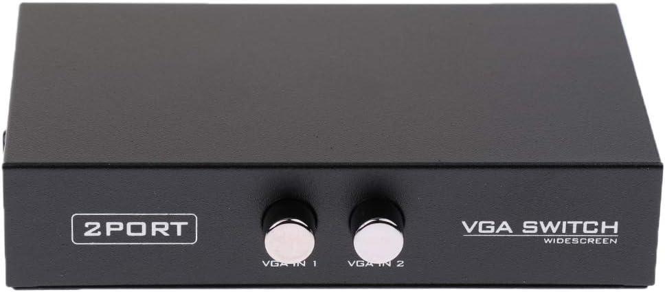 H HILABEE Conmutador VGA de 2 Puertos Caja de Conmutaci/ón Manual de Video Selectores 2 X 1 2 Entrada de PC 1 Salida