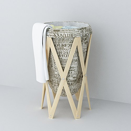 Clown outdoor Woven Fabric, Foldable wooden Laundry Basket, Folding Dirty Laundry Hamper, Decorative Foldable Clothes Bin, with Mesh Lingerie bag for Laundry, Beautiful and Top Quality (British) (Beautiful Baskets)