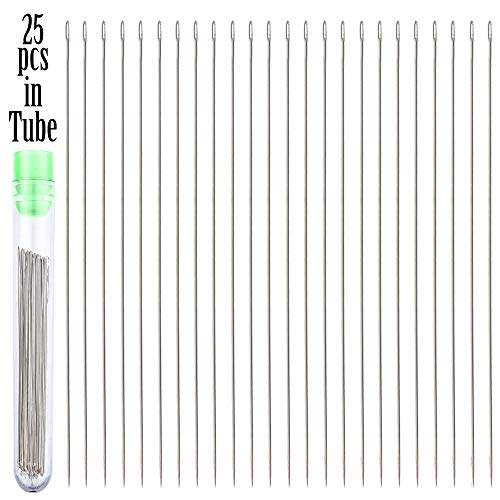 25 Beading Needles Size 10 with 2 Needle Threaders and 2 Clear Storage Tubes ()