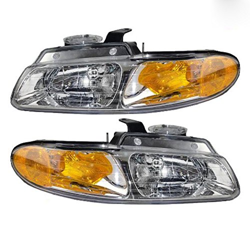 (Fits 96 97 98 99 Dodge Caravan Chrysler Town & Country NEW Headlight Single Headlamp bulb Pair Set Plymouth Voyager Driver and Passenger )