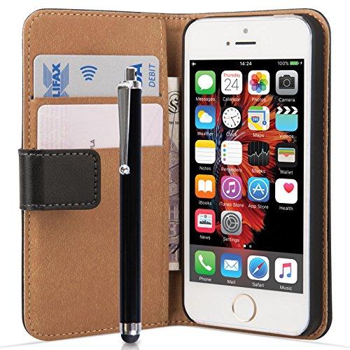 Caseflex iPhone SE Tasche Schwarz Echt Leder Brieftasche Hülle Mit Griffel Stift