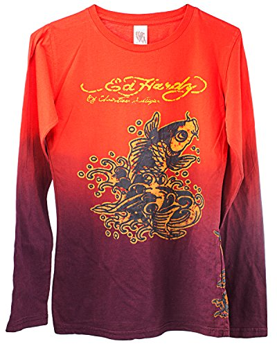 Ed Hardy Kids Girls Koi Long Sleeve T-Shirt - Red - Large ()