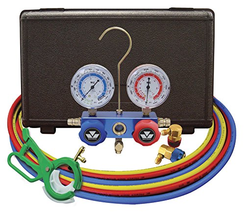 MASTERCOOL (98660-PROM Blue R134A and R-12 Dual Manifold Gauge Set with Can Tap