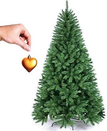 BAKAJI Albero di Natale Pino Cuore d'oro Ecologico e Ignifugo con Base a Croce in Ferro Pieghevole Super Folto Rami Innesto Ad Uncino Colore Verde (120 cm)