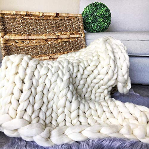 Cheap Thick merino wool blanket Giant chunky huge throw yarn Super bulky heavy knitting blanket 21.5 microns Weighted large throw Huge extreme arm knitted Light gray pink white Queen King Christmas gift Black Friday & Cyber Monday 2019