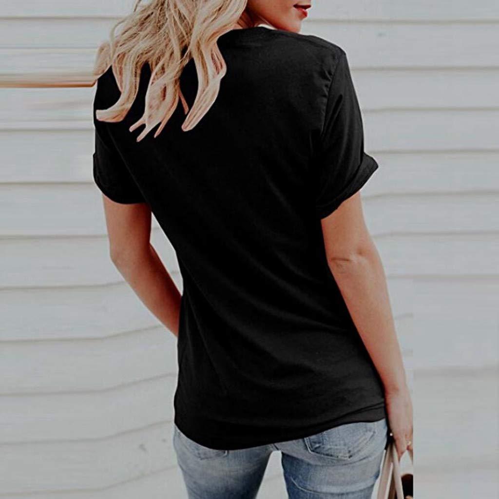 LEvifun Maglietta da Donna di Gatto Sveglio Elegante T-Shirt da Donna Camicetta di Stampa Maglia Manica Corte Donne Tops Sciolto Donna Magliette Maniche Corte Estate Blouse