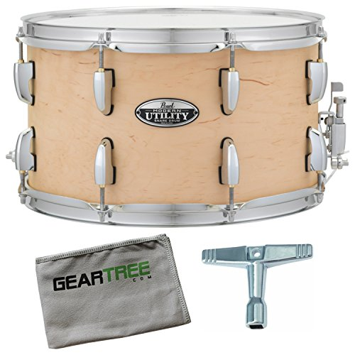(Pearl MUS1480M224 Modern Utility 14X8 Maple Snare Drum, Satin Natural w/Geartre)