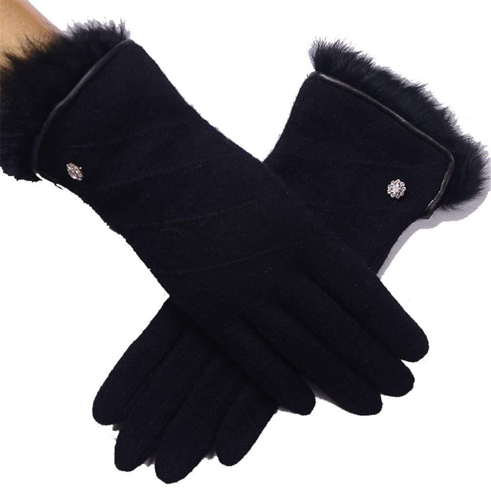 HEJIANGTAO Wolle Handschuhe weibliches Handgelenk Mund Kaninchenfell Leder Einfassung Herbst und Winter warme einlagige Punkte sind dünn