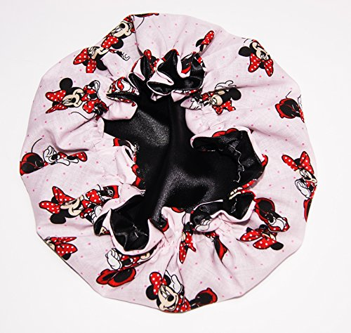 Price comparison product image HANDCRAFTED BLACK Reversible Kids and toddlers SATIN BONNETs are lined with DISNEY MINNIE MOUSE Fabric (MADE IN USA) (KIDS MINNIE MOUSE, BLACK)