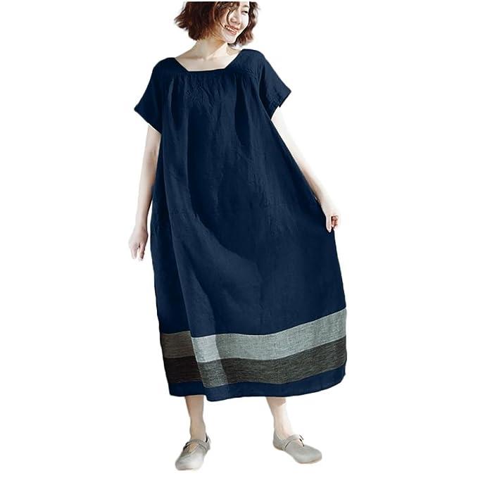 Ropa Mujer ❤️️Lonshell Vestido de Mujer Principios de otoño Vintage Casual Suelto Manga Corta Cuello